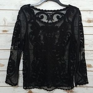 EUC🌻Express Romantic Gothic Lace Sheer Top